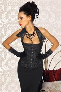 Черный корсет с бархатистым рисунком с воротничком фото